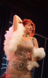 Burlesque Legend Lovey Goldmine performing at the BurlyCares neo burlesque fundraiser show in Las Vegas.